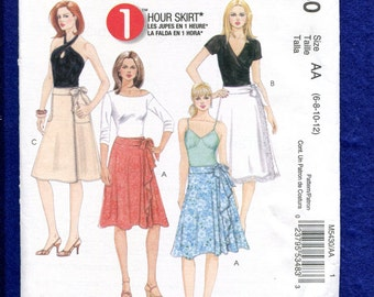 McCall's 5430 Flared Wrap Skirts Size 6 to 12 UNCUT