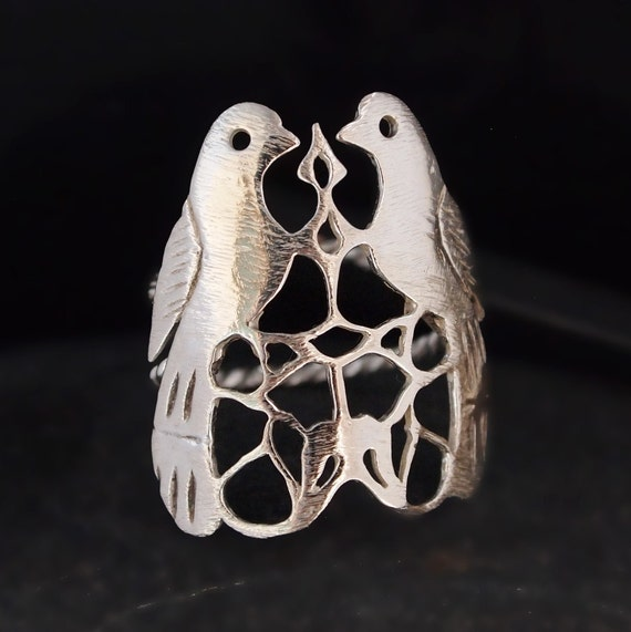 LOVE STERLING SILVER Ring, Love Bird Jewelry, Wedding, Mum Gift