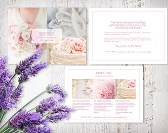 Photography Wedding Marketing Card Template, Photoshop Templates with Pricing Guide, MC401, Blush, INSTANT DOWNLOAD