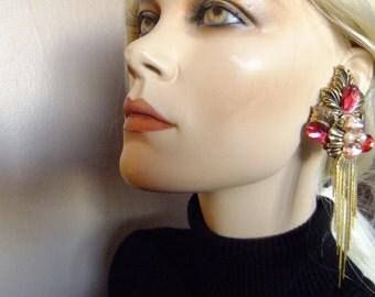 long dangle earrings, avant garde, costume jewelry, clip on earrings