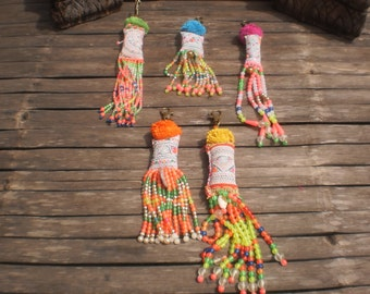 Hmong Beaded Vintage Textile Keychains Set Of 5