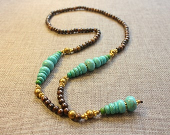 Mala necklace - Mens Turquoise necklace - Womens mala necklace - Mala beads - Gemstones necklace - Brown Necklace - Turquoise necklace