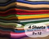 Wool Blend Felt Sheets, 9 x 12 inches, Choose 4 Colors, Wool Felt, Craft Felt, Needle Crafts, Sewing Supply, Scrapbooking, Felting
