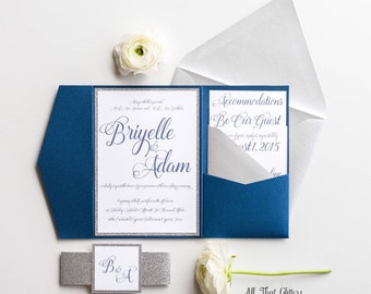 Navy and silver wedding invitations, Glitter Wedding Invitations, navy Blue Wedding Invitation Suite, Any Color, Briyelle