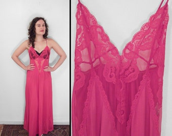 Hot Pink Negligee 70s Nightgown Lace Deep V Spaghetti Strap Small