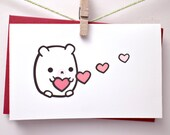I love you card - mini bear with hearts