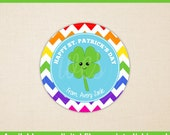 St. Patrick's Day Stickers - Four Leaf Clover Stickers - Saint Patrick's Day Stickers - Rainbow Chevron Stickers - Digital and Printed