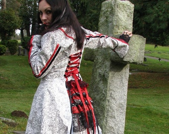 Neo Victorian Red Queen Coat Steampunk Circus