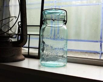Antique 1800s Aqua Blue Trademark Lightning Quart Canning Jar Putnam