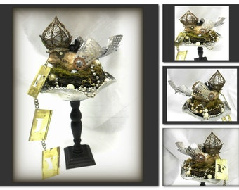 Steampunk Bird Assemblage, Repurposed, Refound items, Birdnest Sculpture,Recycled Nest