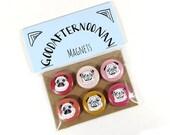 Pug magnets set of six - pug gift - cute pug illustrations - pug lover gift - refrigerator magnet set - valentines pugs - small gift