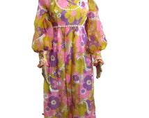 1970s Hippie Dress, Hippie Wedding Dress, 1970s Dress, Balloon Sleeves High Neck Boho Dress Gunne Sax Dress Hippie Clothes 1970s Clothing
