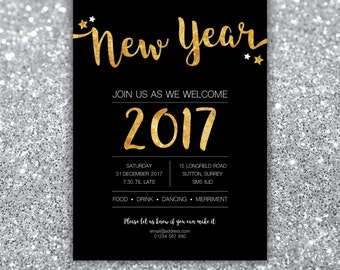 New Year's Eve Party, 2016/2017 Invitation, Christmas, Glitz Glamour party, Glitter Black Gold, Birthday Party
