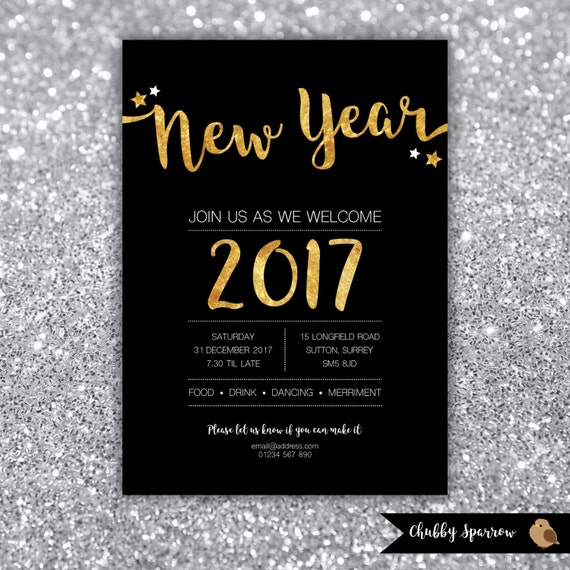New Year's Eve Party 2016/2017 Invitation Christmas