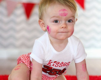 Baby Valentine Shirt-- Babies First Valentine's Day- Boys First Valentine's Day- Baby Valentines Day- First Valentines boy- Boy Kisses Sh