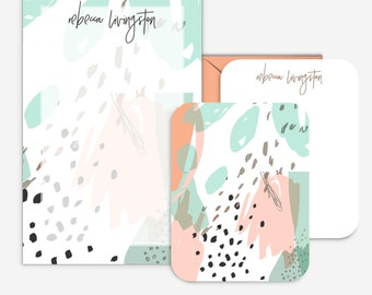 Personalized Abstract Notepad Set - Minty Stationary Paper