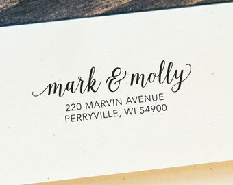 Custom Address Rubber Stamp, modern calligraphy, made to order 2.5 x 1 inches