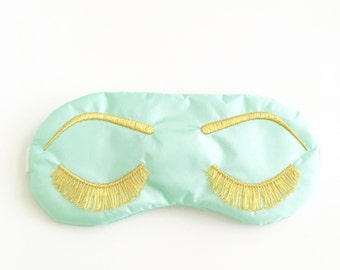Eyelashes sleep mask MINT and METALLIC GOLD