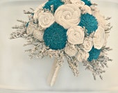 Custom Hand Dyed Teal Blue & Wildflower Alternative Bride's Bouquet - Alternative Wedding Flowers - Wood Flowers, Fabric Rosettes, Burlap