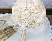 Ready to Ship! Sola Wood Mum Collection - Cream Ivory Bride's Forever Wedding Bouquet - Mixed Sola Wood Flowers, Pearls, Lace - The Sunnybee