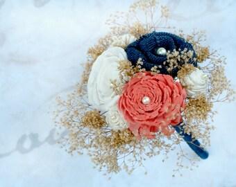 Toss Bouquet, Coral Orange, Navy Blue // Mini Bouquet, Sola Flowers, Burlap Flowers, Babys Breath, Wedding Decorations, The SunnyBee