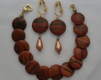 Bracelet Earring Set Glass Pearl Clip Earrings Copper Color Goldtone Heart Shaped Clasp