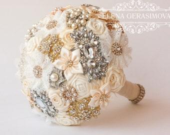 SALE!!! Brooch Bouquet. Ivory Fabric Bouquet, Unique Wedding Bridal Bouquet