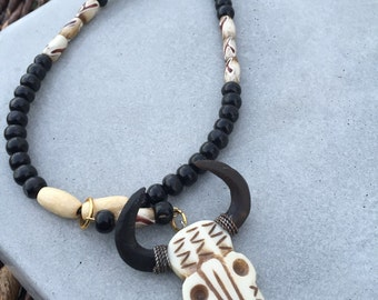 Mens Beaded Necklace With Carved Bone Bull Skull Pendant Tribal Jewelry Southwestern Jewelry Afrocentric Jewelry