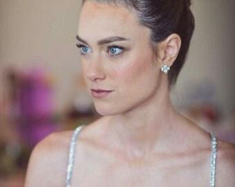 Bridal Cubic Zirconia earrings, tiny crystal earrings, Bridal silver Jewelry, Swarovski crystal earring, bridal accessories Weddings