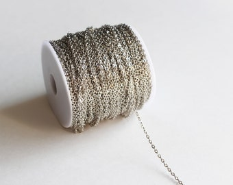 330ft Antique Silver Cable Chain Spool - LEAD FREE - 2x3mm - 100m - Ships IMMEDIATELY from California - CH595