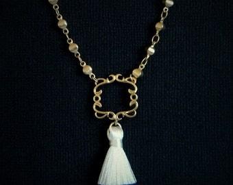 Ivory Gold Frame Tassel  Boho Necklace