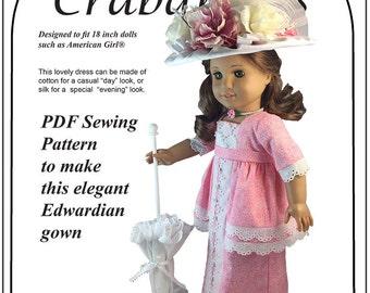 "Edwardian Fancyl PDF Pattern American Girl and other 18"" dolls"
