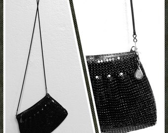 Vintage Delill Evening Bag in Black Metal Mesh