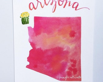 Arizona state art print watercolor hand lettering wall art