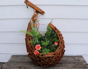 Handmade Wooden Hanging Basket - Vintage Basket - Vintage Wooden Garden Decor - Cornucopia Basket - Air Planter - Wooden Planter - Rustic