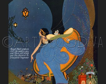 1920's vintage ART Nouveau Costume Dancing Party WOMAN Perfume Beauty French Advertising Poster Fine Art Print