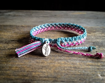 Pastel Friendship macrame bracelet with tassel summer boho jewelry woven in Blue pink and fuchsia braided by Mariposa