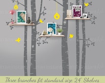 Nursery Wall Decals | Tree Wall Decals for Nursery | Birch Shelving Tree | Easy Application 147