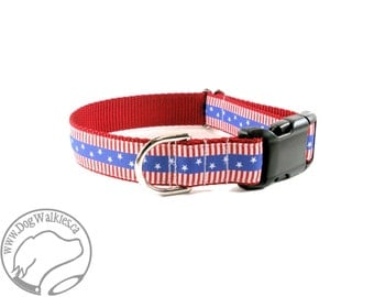 """Stars and Stripes Dog Collar - Fourth of July - 1"""" (25mm) wide - Martingale or Quick side Release - Choice of collar style and size"""