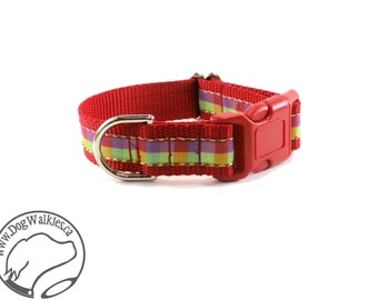 """Cherry Lime Plaid Dog Collar - 1"""" (25mm) wide - Choice of style and size - Quick Release or Martingale Dog Collar // Red // Lime // Mauve"""
