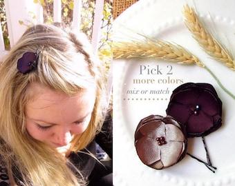 """PICK 2 Small Silk Flower Hair Pins, Fall Wedding hair Flower Hairpiece, Satin Flower Hair Clip Plum Bridesmaid Hair Accessory, 1.5"""" Hairpins"""
