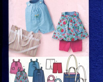 Simplicity 3808 Rompers & Sun Dresses Diaper Bag for Babies Size Preemie to 18 Months UNCUT
