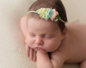 PASTEL COLLECTION ~ Tara (Newborn Tieback, Newborn Headband, Newborn Photo Prop, Newborn Halo, Crown, Photography Prop, Organic, Rainbow)