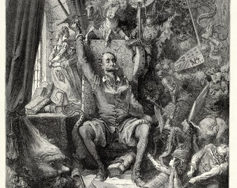 European Master Print and Drawing Reproductions: Gustave Dore, French -  Don Quixote, c. 1870. Fine Art Print