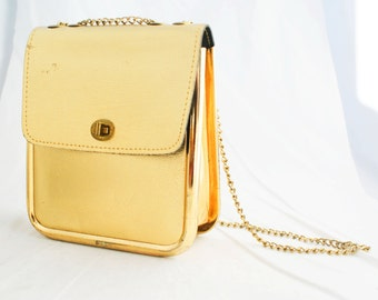 Purse - Small Metallic Gold Handbag with chain over the shoulder strap
