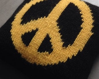 Pillow, Cushion, Revolution, Knitted Pillow, CND, UK Seller, Pure Wool, Black and Yellow, Peace Sign,
