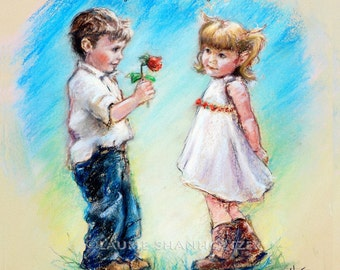 """Custom """"Love You"""" art print boy girl romantic, add names, color and sentiment, Laurie Shanholtzer"""
