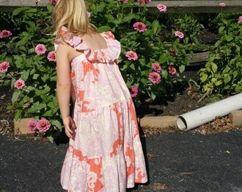 Boutique Dress. One-of-a-Kind DRESS (girls size 3T). Maxi Dress.  Amy Butler Fabric.