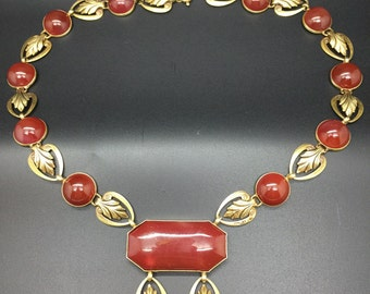 SALE Vintage 1920's Art Deco Carnelian Czech Glass Necklace SALE