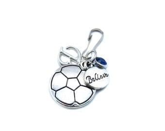 Soccer Zipper Pull, Soccer Gifts, Soccer Player Gift, Soccer Gifts For Girls,Soccer Bag Charm, Soccer Bag